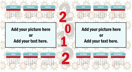 2012 vector calendar. (picture and to add notes.) Vector