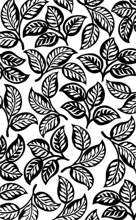 ottoman fabric: Black leaves pattern background Illustration