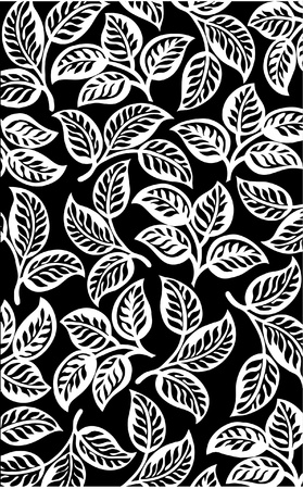 Black leaves pattern background Vector