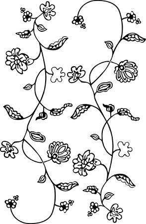ottoman fabric: Black - white floral pattern background. Illustration