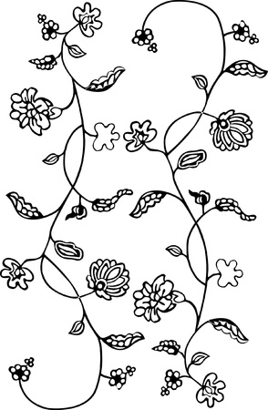 Black - white floral pattern background. Illustration