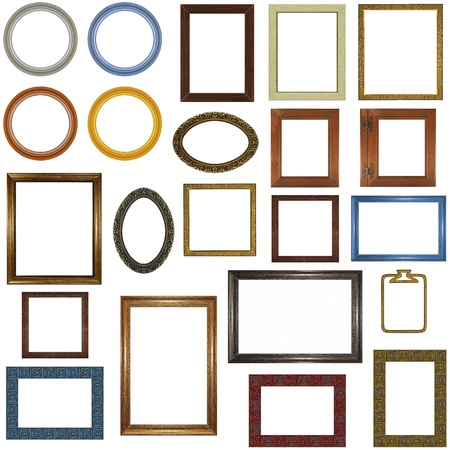 22 different picture frames isolated on white. photo