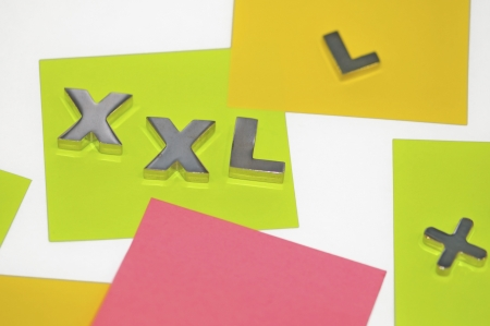 ample: xxl sign, colored labels on the artistic shot