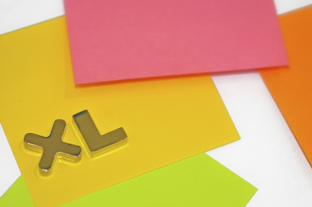 ample: xl sign, colored labels on the artistic shot
