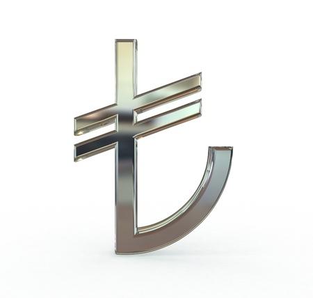 Turkish lira symbol 3d metal New symbol Isolated white background