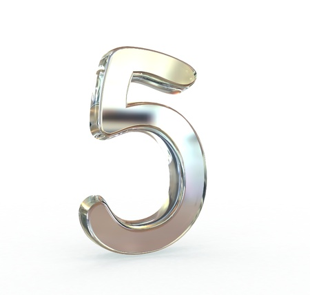 solid silver: 3D Metal number isolated Stock Photo