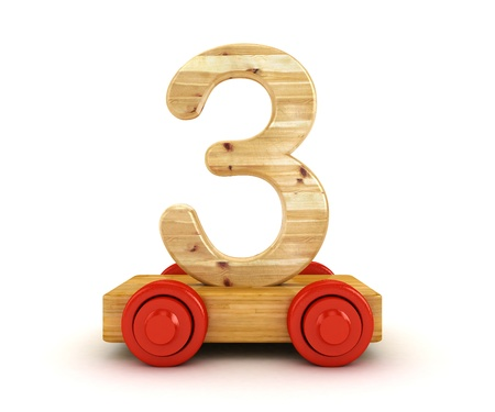 3D Wooden train number isolated on white   photo