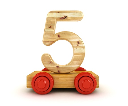five objects: 3D Wooden train number isolated on white   Stock Photo
