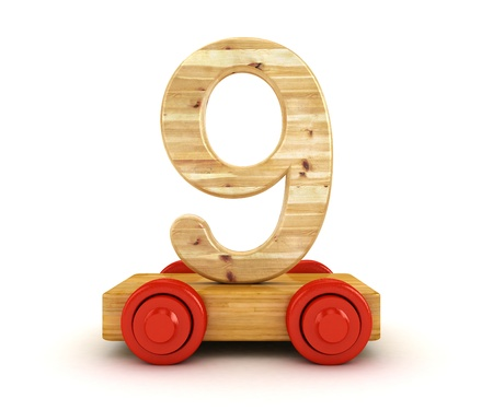 3D Wooden train number isolated on white Stock Photo - 14165136