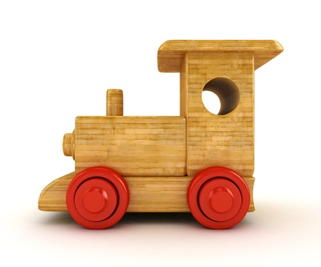 3D Wooden train isolated on white   photo