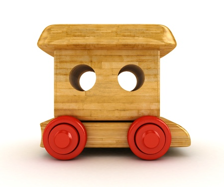 mental object: Tren de 3D de madera aislado en blanco Foto de archivo