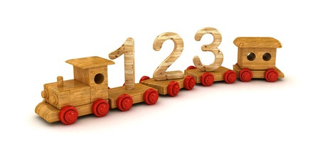 Number learning on toy train isolated on white background   photo