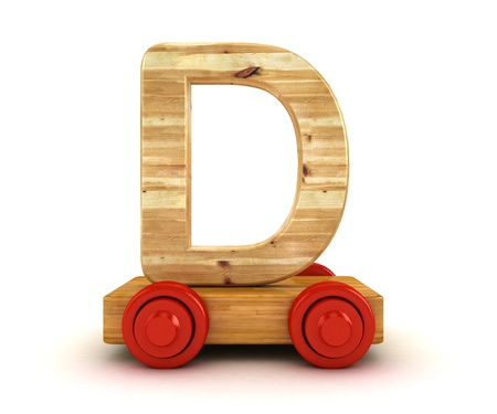 3D Wooden train alphabet isolated on white   photo