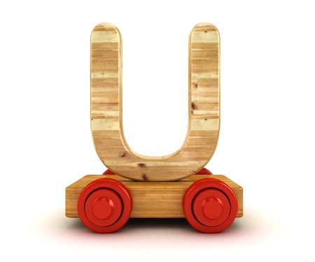 3D Wooden train alphabet isolated on white.  photo