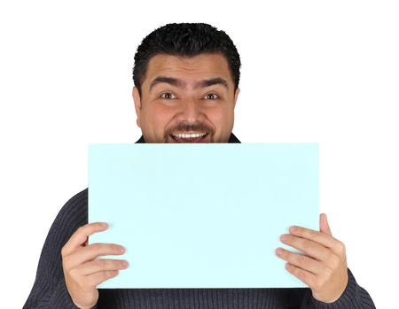 Young man holding blank sign  All on white background  photo