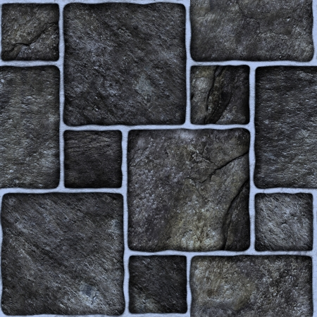 seamless tile: Black marble-stone mosaic texture   High res