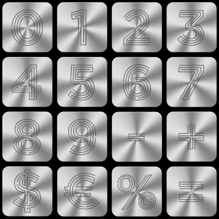 arithmetic: A set of buttons with numbers, currency symbols and arithmetic operations   Stock Photo