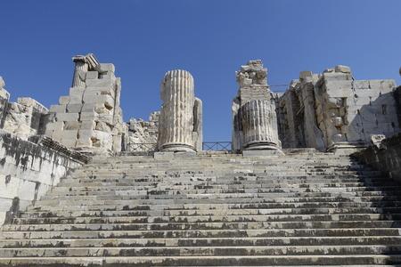 corinthian column: View of Temple of Apollo in antique city of Didyma  Turkey