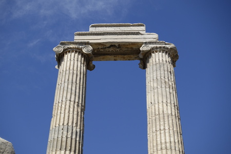 colonnade: View of Temple of Apollo in antique city of Didyma  Turkey