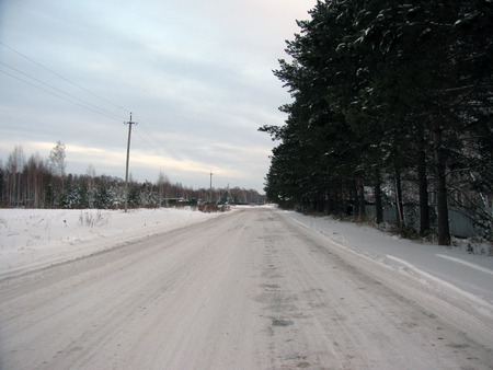 Winter road through the forest to the village photo