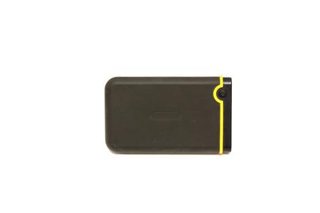 disco duro: Disco duro externo sobre fondo blanco  Foto de archivo