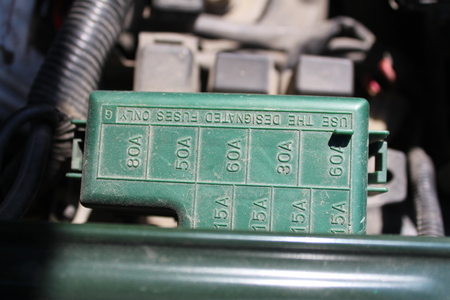 car fuse: The fuse box under the hood in the car Stock Photo