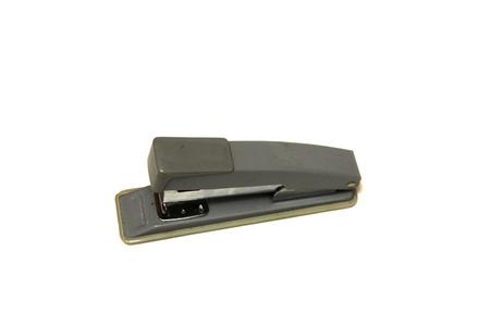 office stapler: Grey office stapler on white background Stock Photo