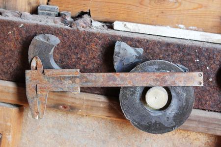 rusty: Rusty vernier caliper with magnets Stock Photo