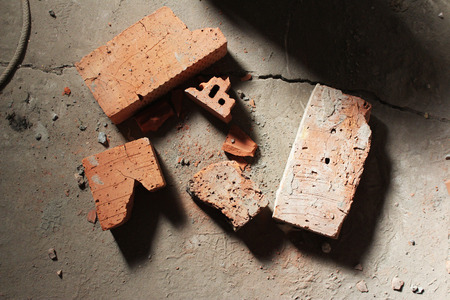 brick: Broken bricks at the construction site - top view