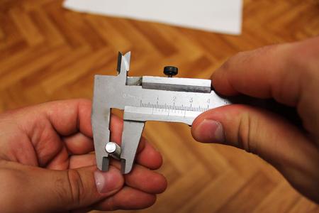 vernier caliper: Measuring bolt vernier caliper Stock Photo
