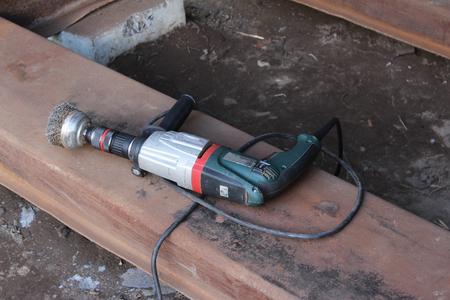 girder: The hammer is lying on an iron girder Stock Photo