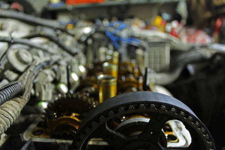 cam gear: The internals of the engine under the valve cover
