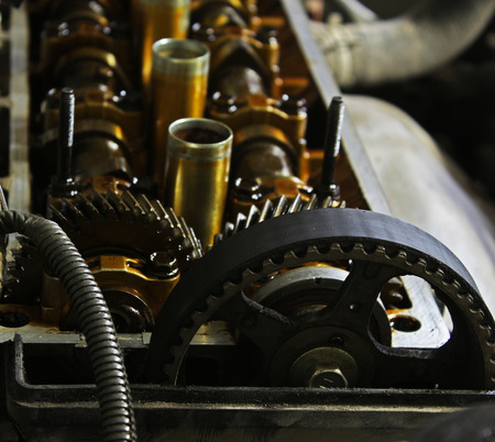 camshaft: The internals of the engine under the valve cover