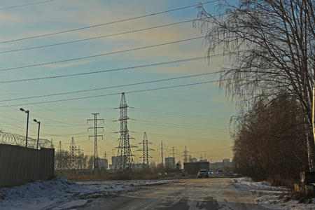 transmission line: The electrical transmission line near the residential area