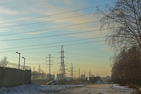 novosibirsk: The electrical transmission line near the residential area