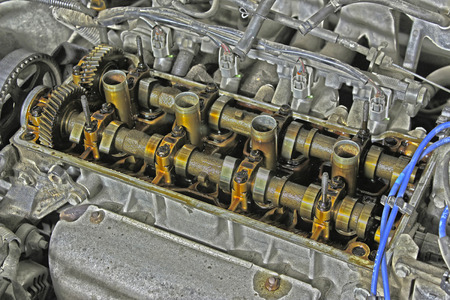 internals: Under the cover of the valves of the car in HDR effect
