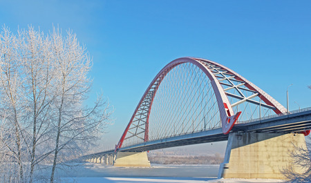 steel: A large arch bridge in the cold winter