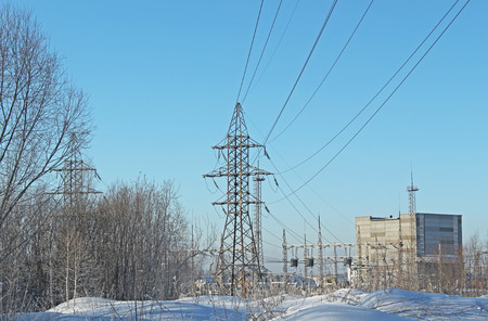 power lines: Power lines in the cold winter
