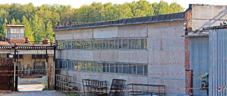 abandoned warehouse: Abandoned warehouse in the Russian city Stock Photo