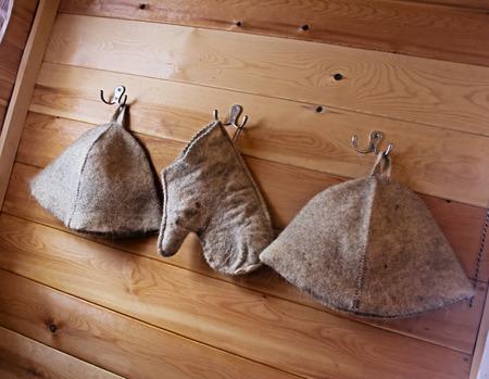 vaporarium: Sauna hat on the hook Stock Photo