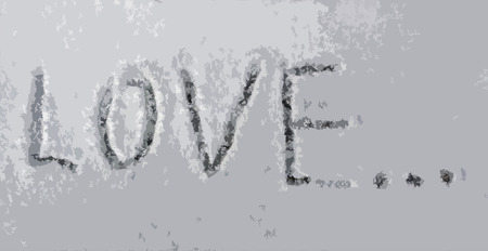 you figure: The inscription Love on the snow