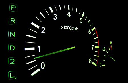 tachometer: The tachometer on the instrument panel in the car