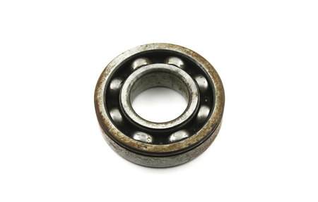 roll out: Old rusty bearing on a white background
