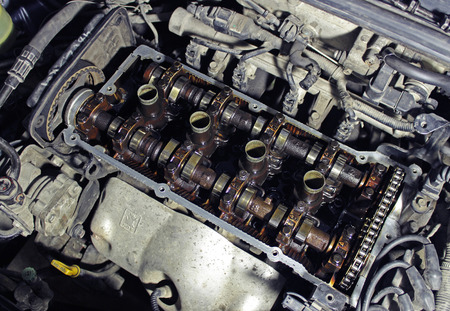 internals: The camshafts in the Korean car Stock Photo