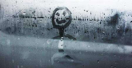 sweaty: The human figure on the misted window