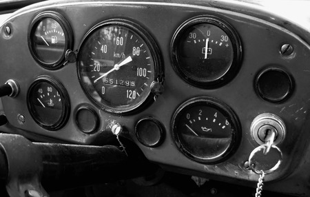 old truck: Dashboard in an old truck Stock Photo