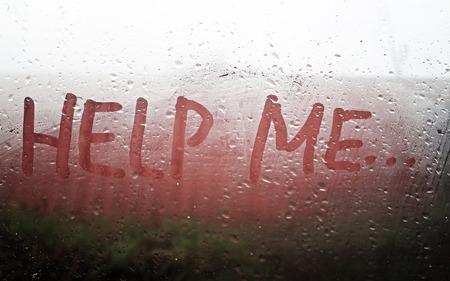 help me: The Help Me inscription on the sweaty glass Stock Photo