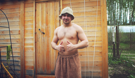 bathhouse: Man after bathhouse in the summer