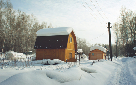 snowbound: Snowbound country house in the early morning