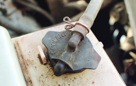 dirty car: Dirty reservoir cap engine coolant car